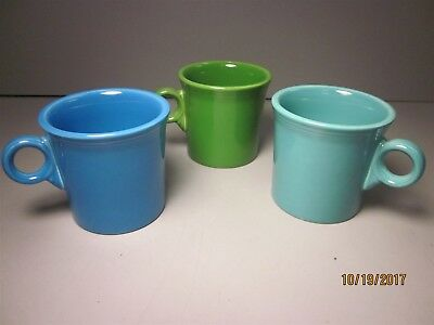 Lot (3) Fiesta Fiestaware Tom & Jerry Mugs Sky Blue Mint Green
