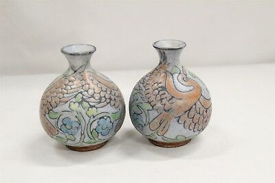 2 Art Deco Hungarian Flying Love Birds Leaves Flowers Bulbous Pottery Vases