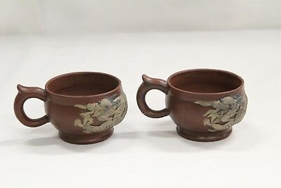 2 Chinese Yixing Applied Dragons Spear Handled Pottery Teacups Signed #2
