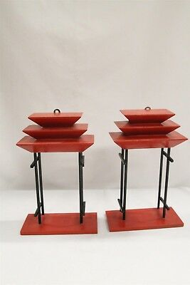 2 Mid Century Modern 40s 50s Black Red Asian Stairstep 3D Wooden Wall Shelves