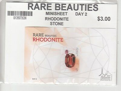2017 Melbourne Rare Beauties: Rhodonite day 2, miniature sheet.MUH/MNH.Cheap