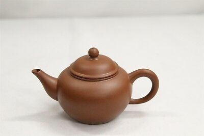 Chinese Yixing Miniature Low Round Dark Clay Pottery Signed Teapot