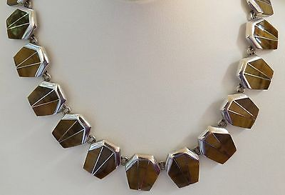 950 Pure silver tiger eye inlay 150gram modernist panel link necklace 17.75 inch