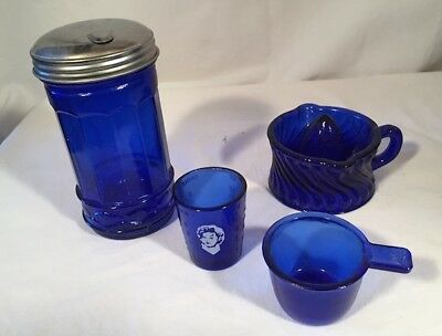 Lot of 4 Cobalt Blue Glass - Measurer w/ Shirley Temple