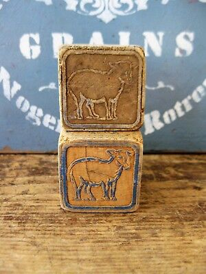 2 Antique Wood Blocks Sheep