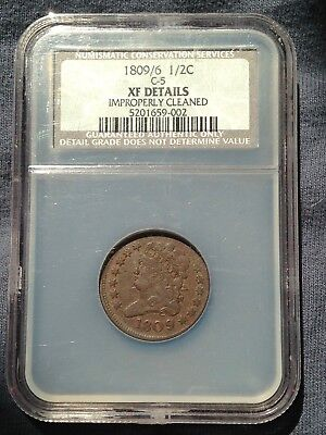 1809 / 6 Classic Head Half Cent Ngc Xf Details C-5 Coin Re-Punch Date Variety ++