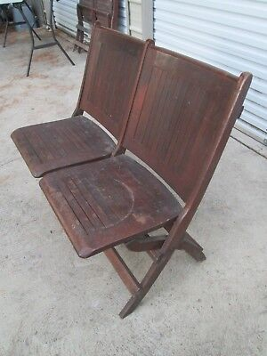 Double Antique Vintage Folding Wooden Chairs / Bench ,Train Station,Theater