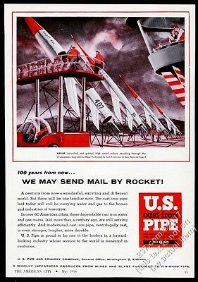 1956 future US Mail rocket delivery art US Pipe vintage print ad