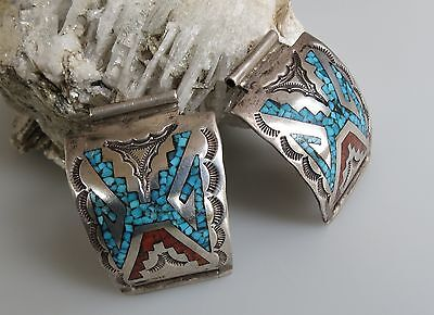 William Singer Navajo    sterling silver coral turquoise chip inaly watch bands