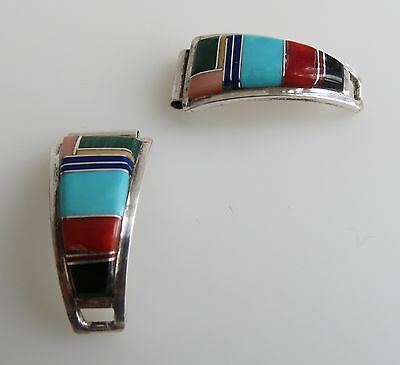 Petite fine Lonjose Navajo sterling silver multi stone inlay watch bands vtg