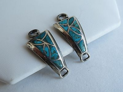 Native American Watch Bands vtg petite zuni inlay turquoise sterling