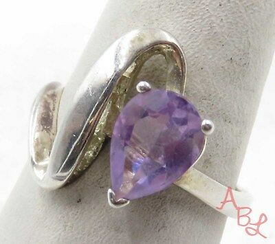 Sterling Silver Vintage 925 Cocktail Amethyst Ring Sz 8 (3.8g) - 575328
