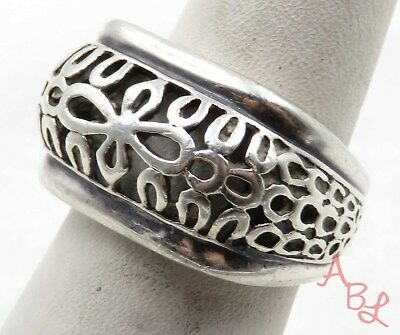 Sterling Silver Vintage 925 Filigree Cross Band Ring Sz 8 (6.1g) - 575070