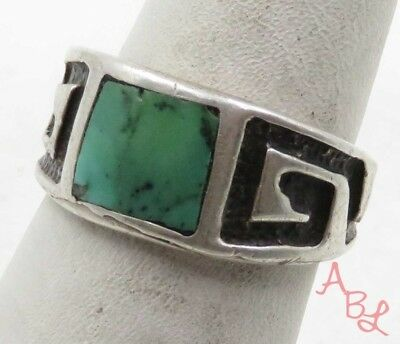 Sterling Silver Vintage 925 Navajo Turquoise Ring Sz 7 (5.7g) - 575333