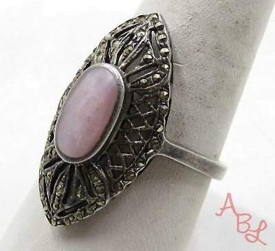 Sterling Silver Vintage 925 Filigree Cocktail Pink Pearl Ring Sz 10 5.5g 575467