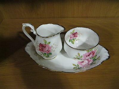 Vintage Royal Albert American Beauty Sugar Bowl,creamer & Serving Plate Lot