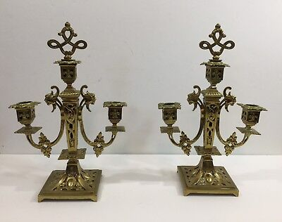 Fine Pair Of Antique Victorian Brass Candlestick Candle Stand Marked Ca 1870s
