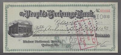 1898 Quincy, Ill Ricker National Bank to Anheuser Bush Brewing Cancelled Check
