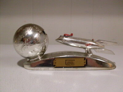 Rare Near Mint Chrome Mechanical Space Rocket Strato Bank W/Key & information