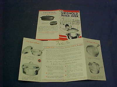 2 Orig 1930s GRISWOLD DUTCH OVEN + CHROME Cookware Advertising BOOKLETS