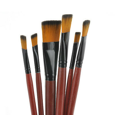 Lot 6Pcs/Set Nylon Acrylic Oil Paint Brushes For Art Artist Supplies Watercolor