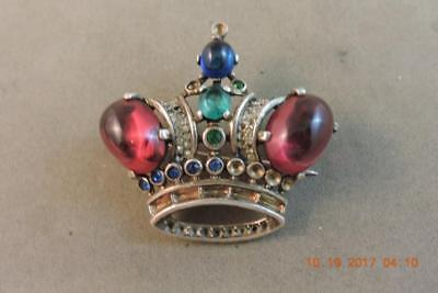 Antique Alfred Philippe Trifari Sterling Crown Red Rhinestone Jelly Belly Brooch