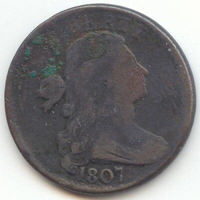 1807 Draped Bust Large Cent, Fine Details, True Auction, No Reserve