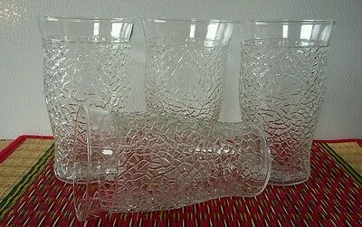 Set of 4 Vintage Clear Crackle Glass Tumblers Unknown Maker