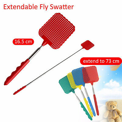 Up to 73cm Telescopic Extendable Fly Swatter Prevent Pest Mosquito Tool Plastic#