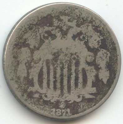 1871 Shield Nickel, Scarce Date, AG/Good Details