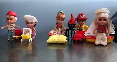 Vintage Little Kiddles 5 Figure Lot With Accessories Biff Nurse Muffet Used