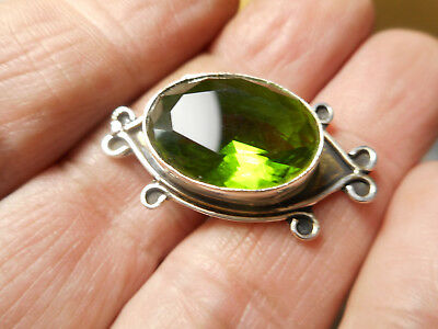 """Sterling Silver Button with Colorful Green Topaz Jewel Button 1-1/4"""""""
