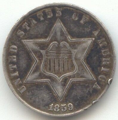 1859 Three Cent Silver, 3c, XF Details, True Auction, No Reserve