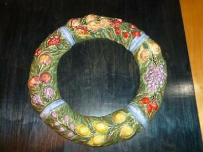 """Vintage Italian Signed Art Pottery Hand Painted Fruit 14"""" Wall Wreath Italy"""