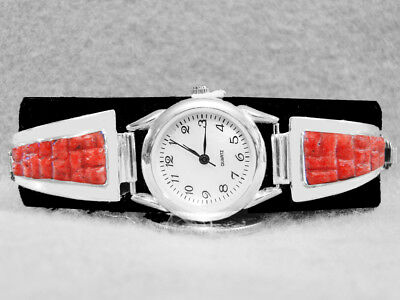 Navajo Watch Coral Inlay Sterling Silver Native American Indian Ladies