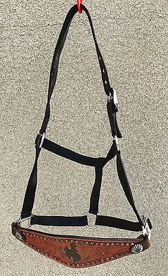 Leather  Bronc Style Halter w/ith Cowboy on Horse{Closing Sale}