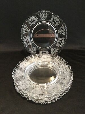 """8 Antique Or Vintage Tiffin Glass Cherokee Pattern 8"""" Salad Plates"""