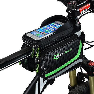 "RockBros Bicycle Frame Bag Pannier Tube Bag Touchscreen Bike 6.2"" Phone Holder"