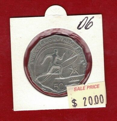 2006 UNC 50C COMMONWEALTH GAMES ATHLETICS COIN IN 2X2 HOLDER