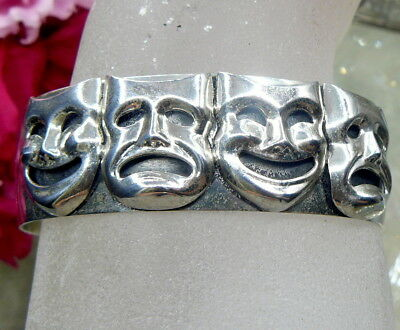 Signed Beau Sterling Silver Comedy Tragedy Theater Mask Faces Cuff Bracelet!!