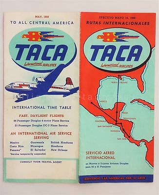 1950 vintage TACA INTERNATIONAL AIRLINES PRICING ADVERTISING BROCHURE travel