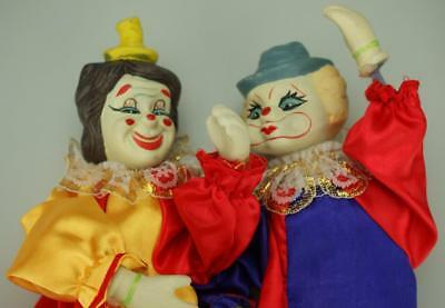 "Pair of Colourful Clowns Porcelain Heads, Hands & Feet, 11"" wire & sponge SA152"