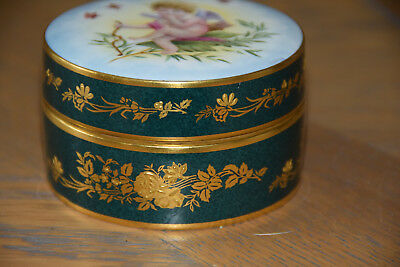 Minton Neo-Classical Gold And Green Trinket Box With Handpainted Lid Of Cupid