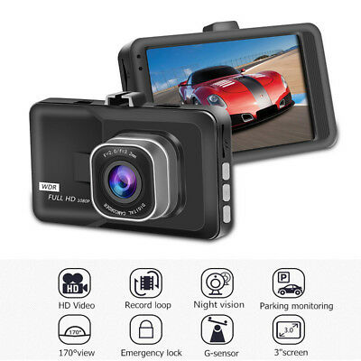 3Inch Car Dash Video Camera 1080P HD DVR Cam Recorder G-sensor Night Vision LCD
