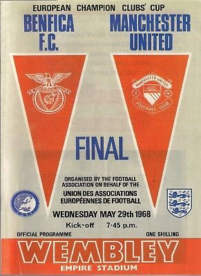1967-68 EUROPEAN CUP FINAL BENFICA v MANCHESTER  UNITED PROGRAMME