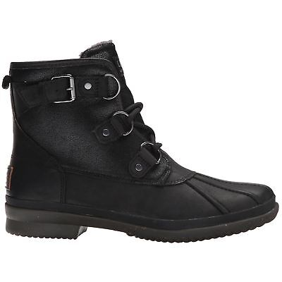 Ugg Australia Cecile Black Womens Leather Waterproof Ankle Boots