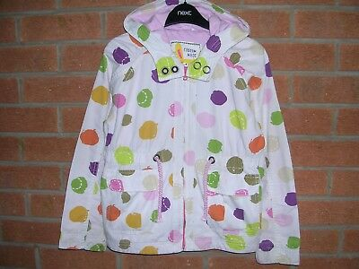 NEXT Girls Spotted Hooded Cotton Lined Jacket Rain Coat Anorak Age 7-8 128cm