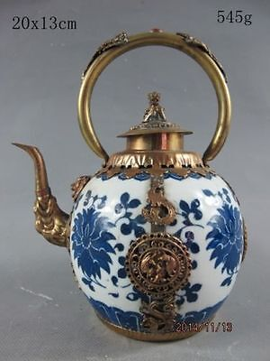 china Tibet Silver dragon Blue and White Porcelain teapot