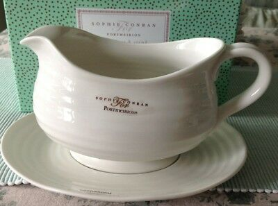Sophie Conran For Portmeirion Gravy Boat & Stand White New Boxed