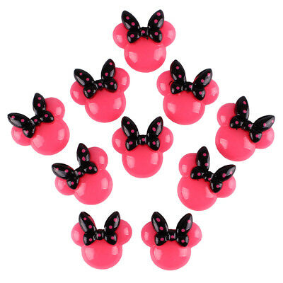 10pcs Hot Pink Minnie Resin Flatbacks for Scrapbooking Hair Bow Cabochon Craft